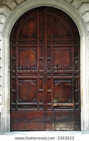 A closed wooden door - stock photo