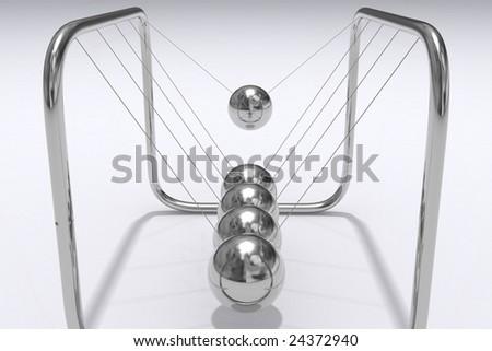 A closeup 3D render of Newtons Cradle - stock photo