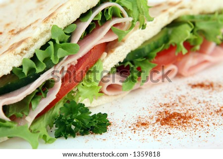 A closeup macro photo of a colorful sandwich with a shallow DOF on white - stock photo
