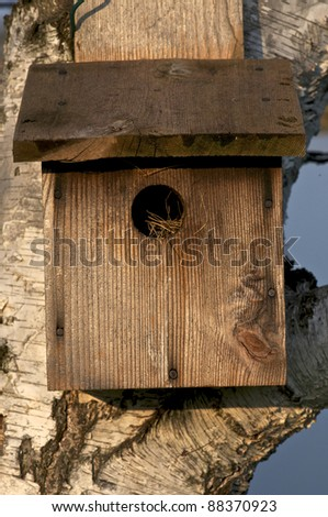 A closeup of a birdhouse attached to a tree - stock photo