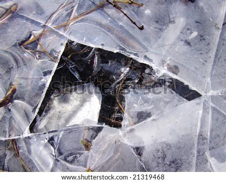 A closeup of a broken ice part on a street - stock photo