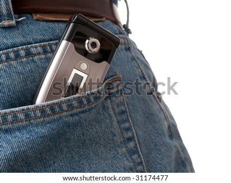 A closeup of a cellular phone in the back pocket of blue jeans, isolated on white. - stock photo