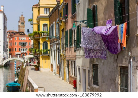 A closeup of a laundry near one of Venice's channel, Venice, Italy  - stock photo