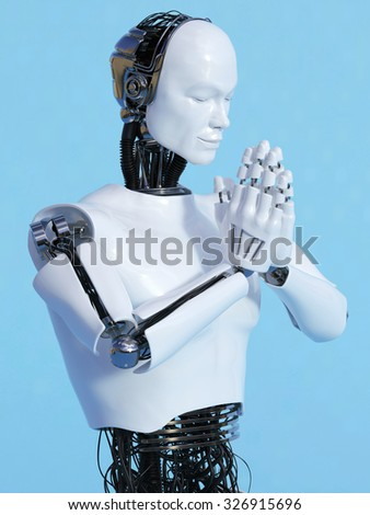A closeup of a male robot doing a namaste greeting, image 4. Blue background. - stock photo