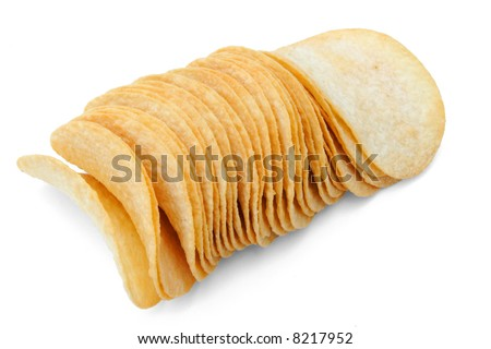 A closeup of a row of closely packed potato chips.