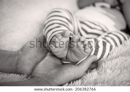 A closeup of adorable baby feet in black and white image - stock photo