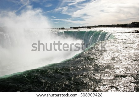 A closeup of the Canadian falls of Niagara Falls  showing the power of