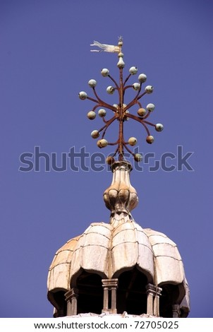 A closeup of the top of one of the domes of the San Marco basilica - stock photo