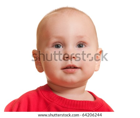A closeup portrait of a little girl isolated on the white background