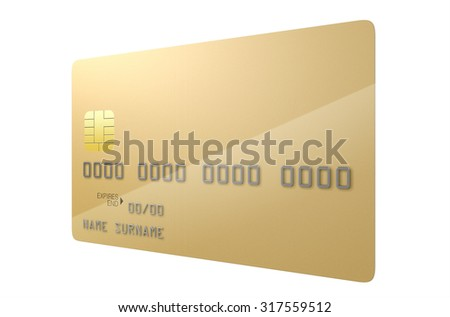 A closeup view of a gold generic blank bank credit card on an isolated white studio background