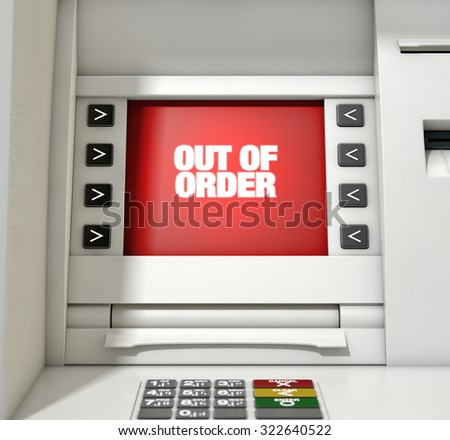A closeup view of a red atm screen that reads out of order  - stock photo