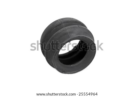 white rubber gasket. a closeup view of the details rubber gasket isolated on white background
