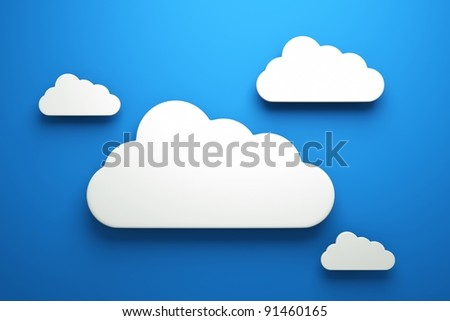 a clouds on blue - stock photo