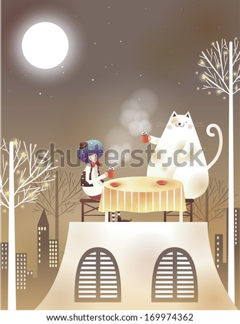 A clown and a cat sitting at a table. - stock photo
