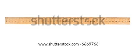 A 30 cm wooden ruler, isolated on a white background - stock photo