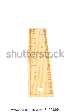 A 20 cm wooden ruler, isolated on a white background.Flip it over for a 8 inch ruler (clearpoint at 20 cm) - stock photo