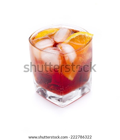 a cocktail called Americano, with Campari based drink - stock photo