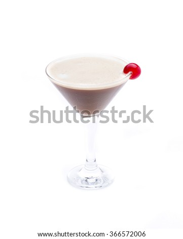 a cocktail served in martini glass, with chocolate as the main ingredient
