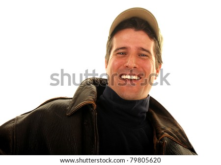 A cocky man wearing classic American garb giving a welcoming smile. - stock photo
