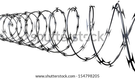 Coil Razor Wire On Isolated White Stock Illustration 154798205 ...