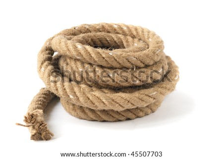 A coiled rope with end - stock photo