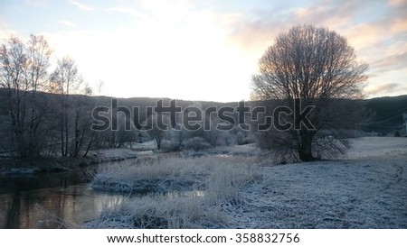 A cold evening at winter in Norway - stock photo