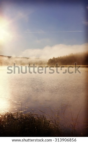 A cold morning during early autumn time. An amazing scenery on a cold and foggy morning. A forest is filled with mist. Image has a vintage effect applied. - stock photo