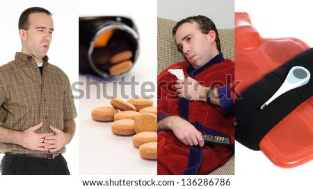 A collage featuring images associated with having the flu. - stock photo