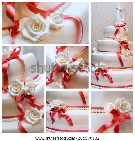 A collage of a wedding cake - stock photo