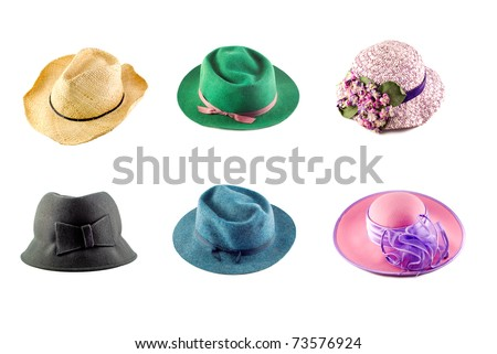 A collage of an assortment of six hats on a white background - stock photo