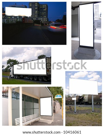 A collage of billboard shots. The background is easily removed. Buy one and get the lot. Many more like this. Check my portfolio. - stock photo