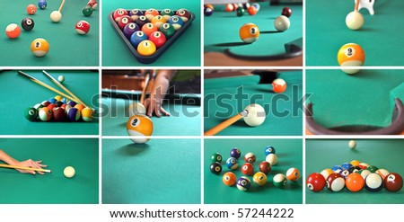A collage of billiard items, balls, sticks, table, game concept. - stock photo