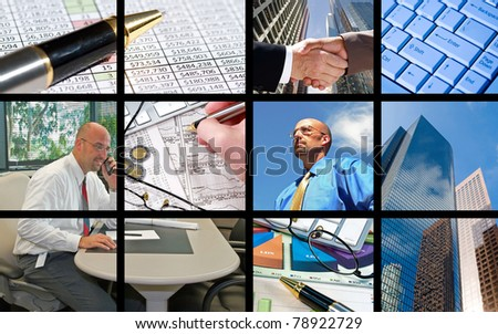 A collage of business people and business objects - stock photo