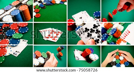 A collage of casino and gambling items, cards, chips, entertainment concept
