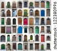 A collage of colorful doors - stock photo