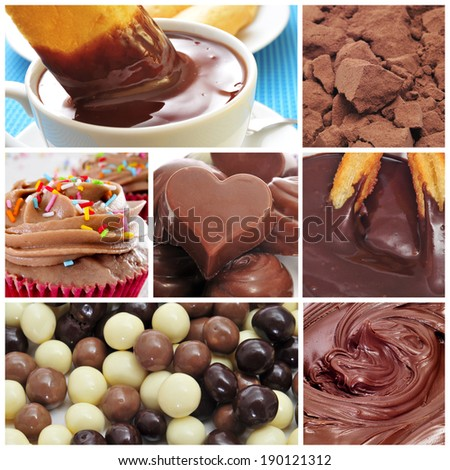 a collage of different sweet food made with cocoa, such as chocolates, hot chocolate or chocolate cupcakes - stock photo
