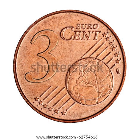 A collage of  3 euro cent coin - stock photo