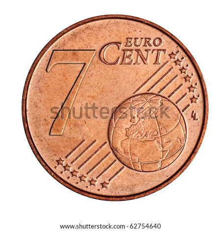 A collage of  7 euro cent coin - stock photo