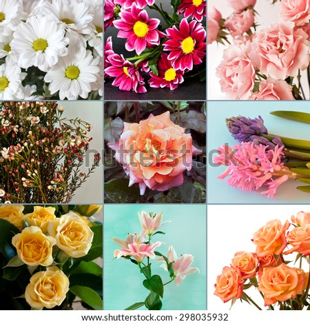 A collage of flower photos, including roses, lilies, daisies and hyacinths - stock photo