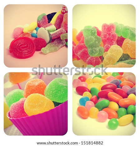 a collage of four pictures of different candies, such as jelly beans, gumdrops or gummy bears, with a retro effect - stock photo