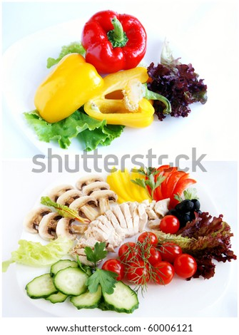 A collage of fresh ingredients for healthy salads - cucumber, lettuce, mushrooms, chard, sweet pepper, parsley, tomato, black olives, dill and boiled chicken meat on a plate, white background - stock photo