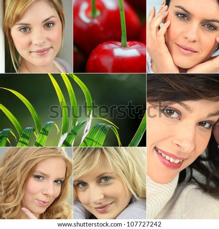 A collage of healthy-looking young women - stock photo