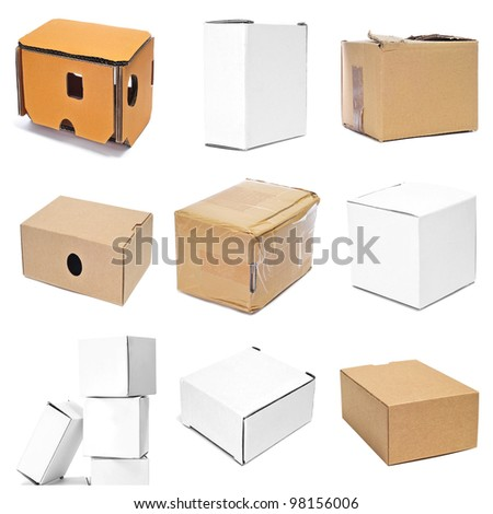 a collage of nine pictures of different boxes - stock photo
