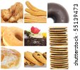 a collage of nine pictures of different kind of biscuits and pastries - stock photo