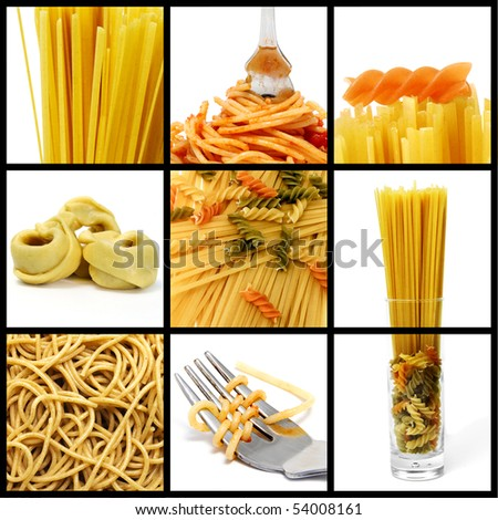 a collage of nine pictures of different kind of pasta - stock photo