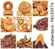 a collage of nine pictures of different pastries and bakery items - stock photo