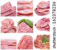 a collage of nine pictures of different raw meat and ground meat products - stock photo