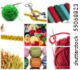 a collage of nine pictures of different sewing and knitting tools - stock photo