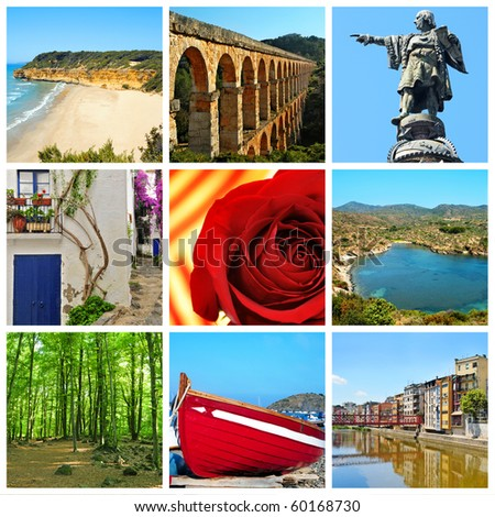 a collage of nine pictures of different views and symbols of Catalonia, Spain