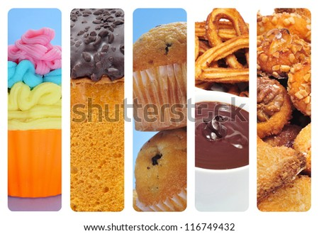 a collage of of different pastries and sweet food, such as cupcakes, panettone, churros con chocolate and panellets - stock photo